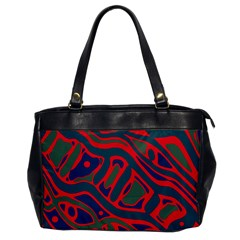 Red And Green Abstract Art Office Handbags by Valentinaart