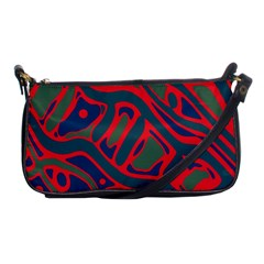 Red And Green Abstract Art Shoulder Clutch Bags by Valentinaart