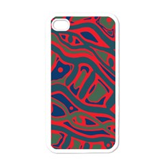 Red And Green Abstract Art Apple Iphone 4 Case (white) by Valentinaart