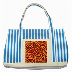 Orange Abstract Art Striped Blue Tote Bag by Valentinaart