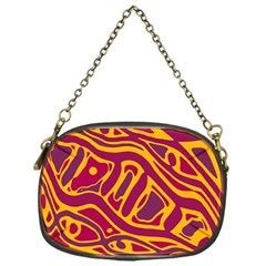 Orange Abstract Art Chain Purses (one Side)  by Valentinaart