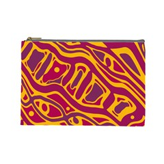 Orange Abstract Art Cosmetic Bag (large)  by Valentinaart