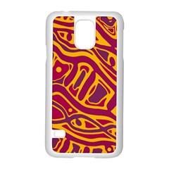 Orange Abstract Art Samsung Galaxy S5 Case (white) by Valentinaart
