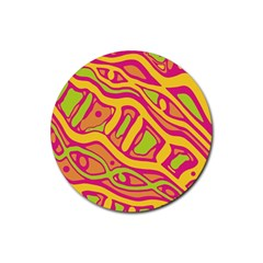Orange hot abstract art Rubber Coaster (Round)  by Valentinaart