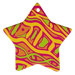 Orange Hot Abstract Art Star Ornament (two Sides)  by Valentinaart