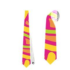 Orange Hot Abstract Art Neckties (one Side)  by Valentinaart