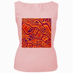 Orange Decorative Abstract Art Women s Pink Tank Top by Valentinaart