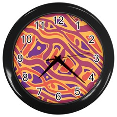 Orange Decorative Abstract Art Wall Clocks (black) by Valentinaart