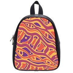 Orange Decorative Abstract Art School Bags (small)  by Valentinaart