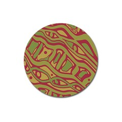 Brown Abstract Art Magnet 3  (round) by Valentinaart