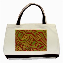 Brown Abstract Art Basic Tote Bag by Valentinaart