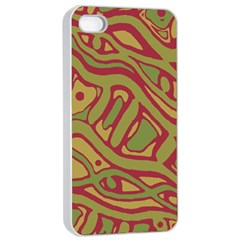 Brown Abstract Art Apple Iphone 4/4s Seamless Case (white) by Valentinaart