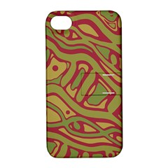 Brown Abstract Art Apple Iphone 4/4s Hardshell Case With Stand by Valentinaart