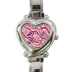 Pink And Purple Abstract Art Heart Italian Charm Watch by Valentinaart