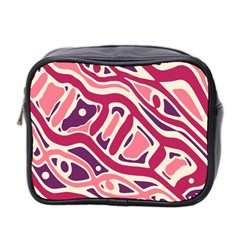 Pink And Purple Abstract Art Mini Toiletries Bag 2 Side by Valentinaart