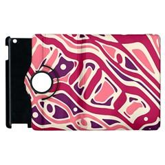 Pink And Purple Abstract Art Apple Ipad 2 Flip 360 Case by Valentinaart