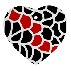 Red, Black And White Abstraction Ornament (heart)  by Valentinaart