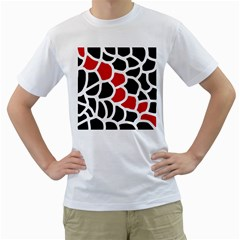 Red, Black And White Abstraction Men s T Shirt (white) (two Sided) by Valentinaart