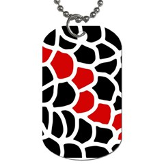 Red, Black And White Abstraction Dog Tag (two Sides) by Valentinaart
