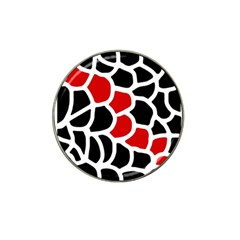 Red, Black And White Abstraction Hat Clip Ball Marker by Valentinaart