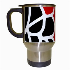 Red, Black And White Abstraction Travel Mugs (white) by Valentinaart