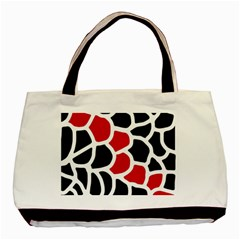 Red, Black And White Abstraction Basic Tote Bag (two Sides) by Valentinaart
