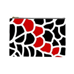 Red, Black And White Abstraction Cosmetic Bag (large)  by Valentinaart