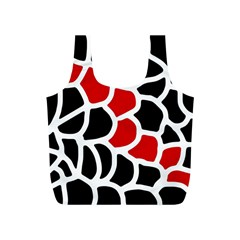 Red, Black And White Abstraction Full Print Recycle Bags (s)  by Valentinaart