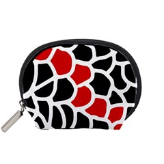Red, Black And White Abstraction Accessory Pouches (small)  by Valentinaart