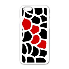 Red, Black And White Abstraction Apple Iphone 6/6s White Enamel Case by Valentinaart