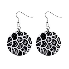 Black And White Playful Design Mini Button Earrings by Valentinaart