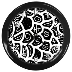 Black And White Playful Design Wall Clocks (black) by Valentinaart