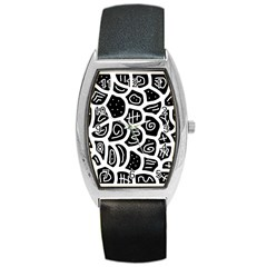 Black And White Playful Design Barrel Style Metal Watch by Valentinaart