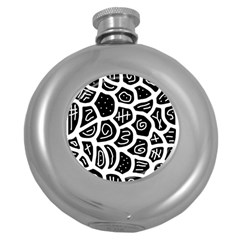 Black And White Playful Design Round Hip Flask (5 Oz) by Valentinaart