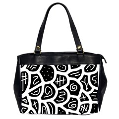 Black And White Playful Design Office Handbags (2 Sides)  by Valentinaart