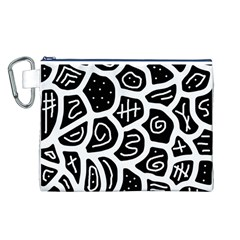 Black And White Playful Design Canvas Cosmetic Bag (l) by Valentinaart