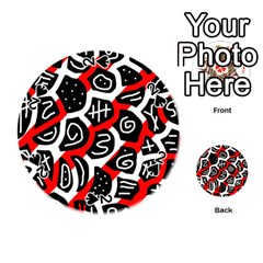Red Playful Design Playing Cards 54 (round)