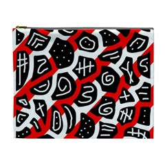 Red Playful Design Cosmetic Bag (xl) by Valentinaart