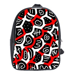 Red Playful Design School Bags (xl)  by Valentinaart