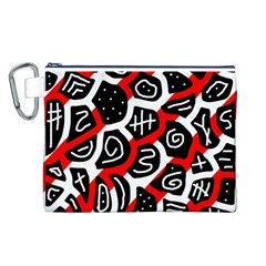 Red Playful Design Canvas Cosmetic Bag (l) by Valentinaart