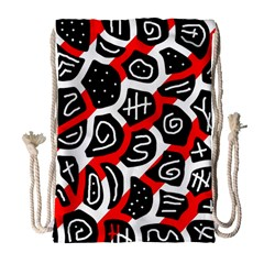 Red Playful Design Drawstring Bag (large) by Valentinaart