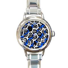 Blue Playful Design Round Italian Charm Watch by Valentinaart