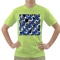 Blue playful design Green T-Shirt by Valentinaart