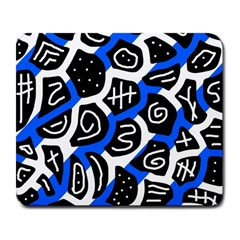 Blue Playful Design Large Mousepads by Valentinaart