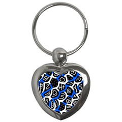 Blue Playful Design Key Chains (heart)  by Valentinaart