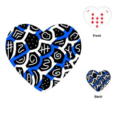 Blue Playful Design Playing Cards (heart)  by Valentinaart