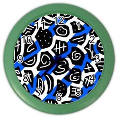 Blue Playful Design Color Wall Clocks by Valentinaart