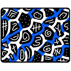 Blue Playful Design Fleece Blanket (medium)  by Valentinaart