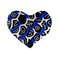 Blue Playful Design Standard 16  Premium Heart Shape Cushions by Valentinaart
