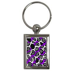 Purple Playful Design Key Chains (rectangle)  by Valentinaart
